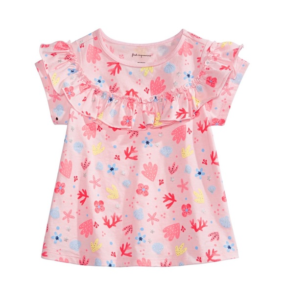 First Impressions Other - NWT First Impressions Shell Print Ruffle Top 24mo